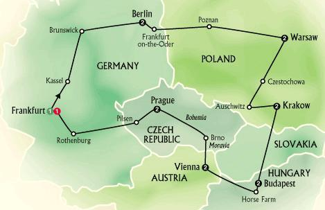 Route of tour